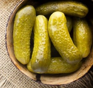 pickles in a wooden bowl