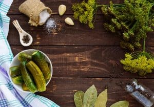 pickles with dill, salt and peppercorns